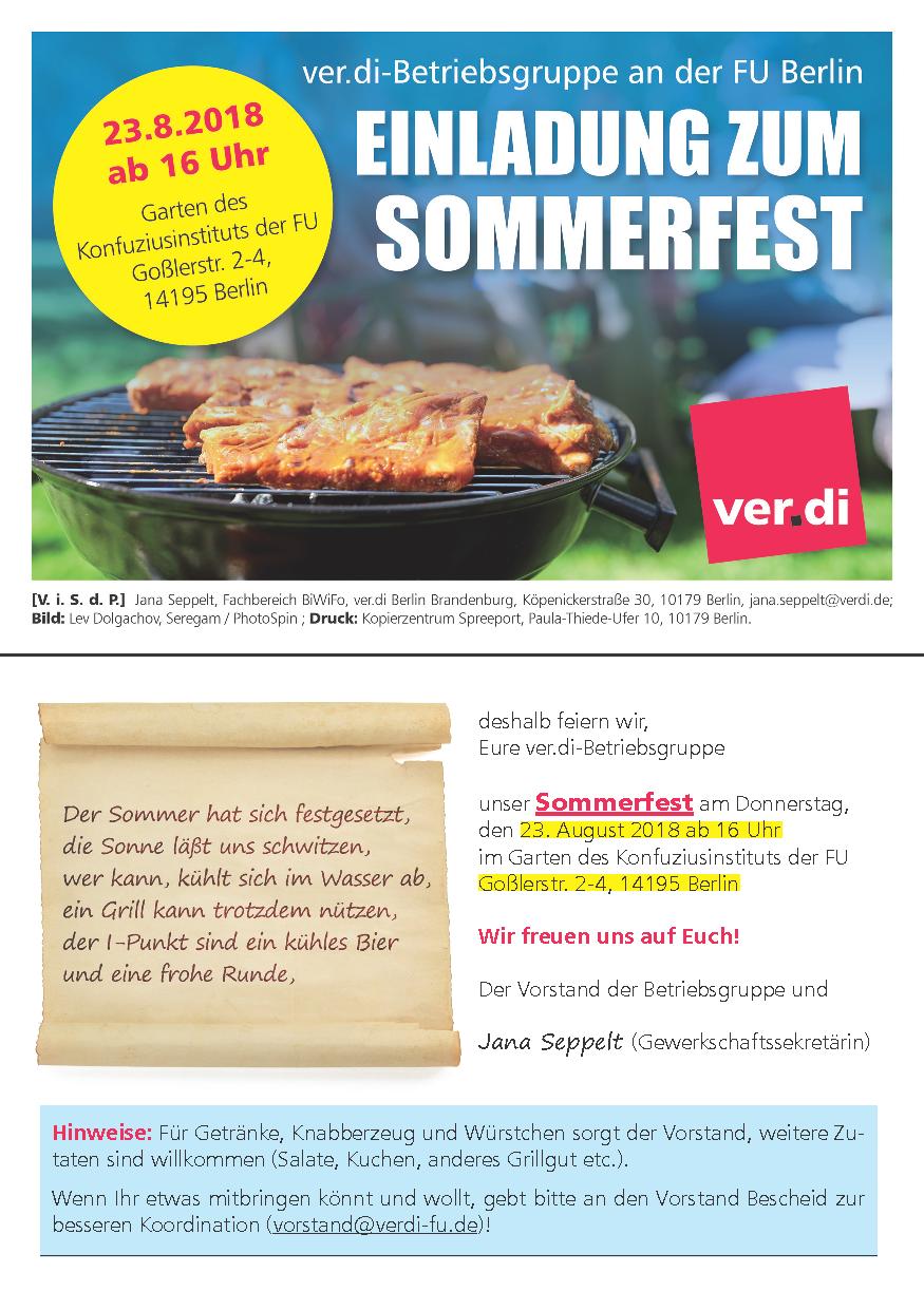 Sommerfest der Betriebsgruppe FU @ Konfuziusinstitut